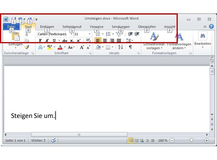 Registerkarte 'Start' in Word2010 mit angezeigten Zugriffstasteninfos