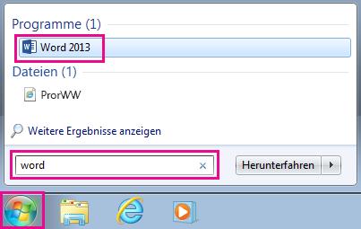 Suchen nach Office-Apps in Windows 7