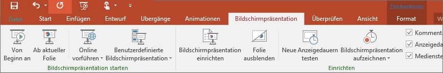 Abbildung der Registerkarte 'Bildschirmpräsentation' im PowerPoint-Menüband