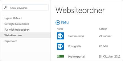 """Wählen Sie in der Schnellaktionsleiste in Office 365 """"Websiteordner"""" aus, um eine Liste der SharePoint Online-Websites anzuzeigen, denen Sie folgen."""