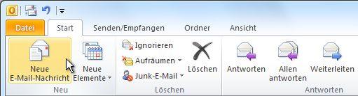 Befehl 'Neue E-Mail' im Menüband