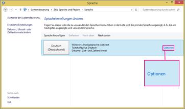 Office 2016 unter Windows 8 – Optionen für Eingabemethoden
