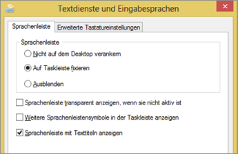 Office 2016 unter Windows 8 – Textdienste und Eingabesprachen