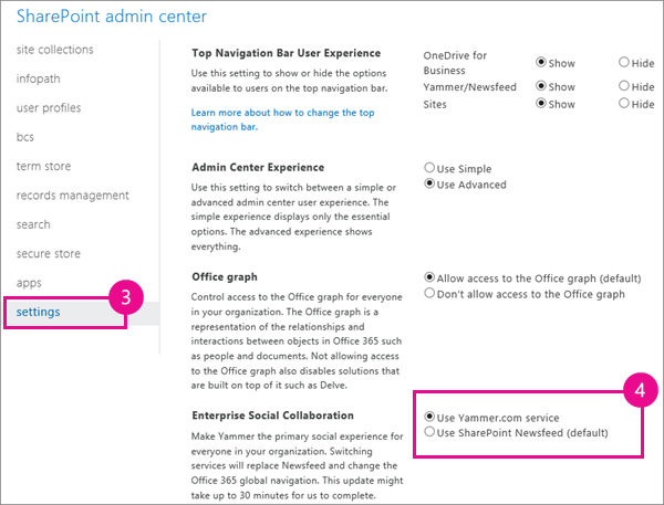 Sharepoint settings including the newsfeed or yammer switch - Activate yammer office 365 ...