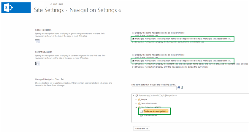 Enable managed navigation for a site