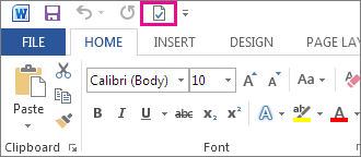 Accept This Change button on the Quick Access Toolbar