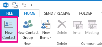 New Contact button on the Home tab