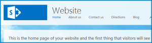 Screenshot of the default Home page of a Public Website in SharePoint Online