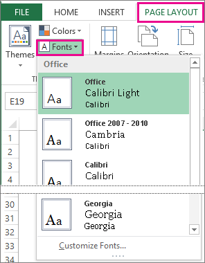 Fonts gallery on Page Layout tab