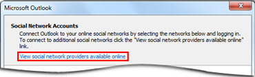 Link to Outlook Social Connector provider page