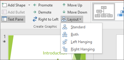 Shows the Layout option in SmartArt tools