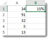 Numbers in column A, in cells A1 through A5, 15% in cell B1