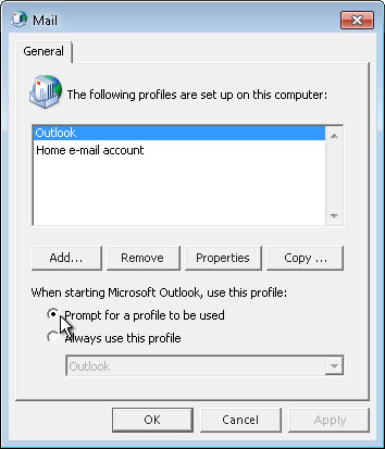 Prompt for a profile to be used command on Mail dialog box