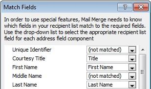 Match Fields dialog box