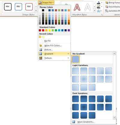 Gradients available through the Shape Fill  menu