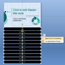 Slide master with formatting options displayed