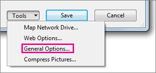 General Options on the Tools menu