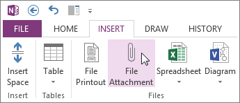 Insert a file into your notes as an attachment