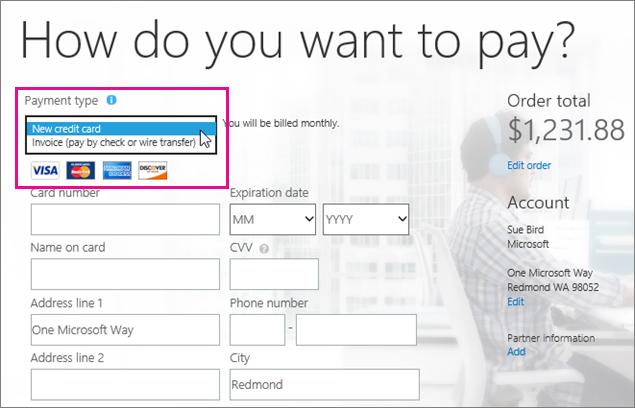 Select New Credit Card from the Payment Method box.