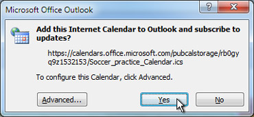 All Internet Calendar to be added to Outlook dialog box