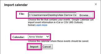 google calendar - import calendar dialog