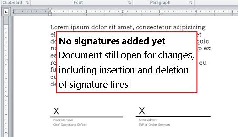 Document without first signature and thus still open to changes