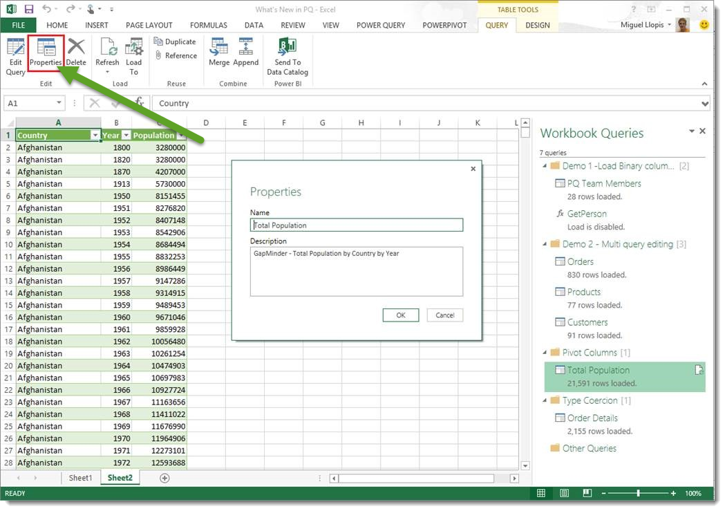 The Power Query Query Properties dialog