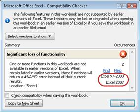Compatibility Checker with versions highlighted