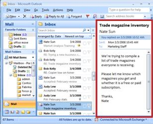 The Reading Pane to the right of the Inbox
