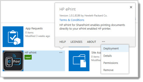 The Deployment command is available in the properties callout for an app on the App Catalog site.