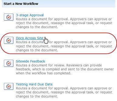 Link to start workflow
