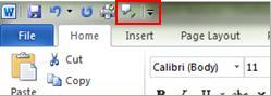 Quick Access Toolbar Speak command