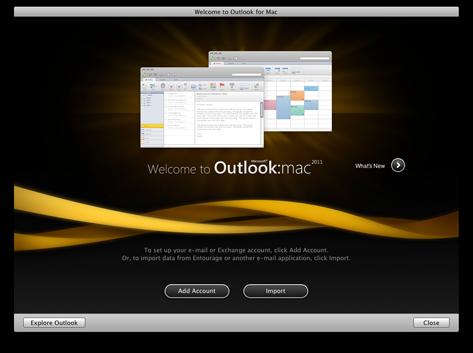 Outlook start screen