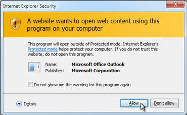 Internet Explorer security dialog box