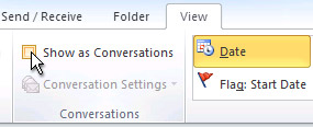 Show as Conversations check box on the ribbon