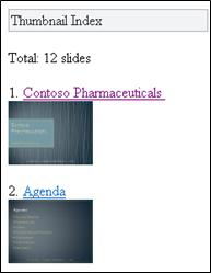 Thumbnail index in Mobile Viewer for PowerPoint