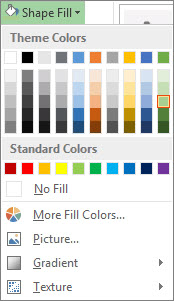 Shape Fill color options menu