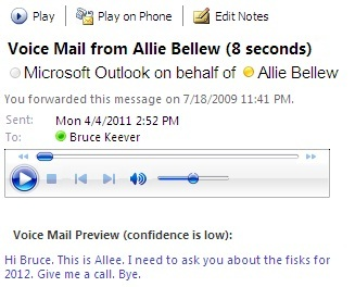 Voice mail message with transcription