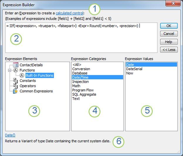 The Expression Builder dialog box