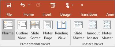 Shows the view menu in PowerPoint