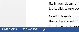 Status bar showing total word count