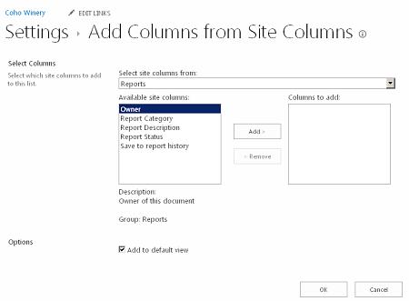 Add Columns from Site Columns