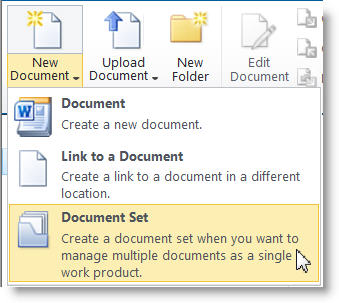 Document Set command on the New Document menu