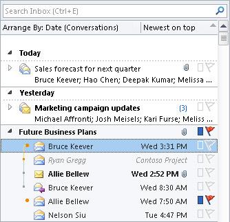 Conversations in the Inbox message list