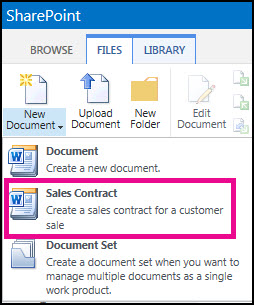 Drop down from New Document menu showing a Sales Contract content type.