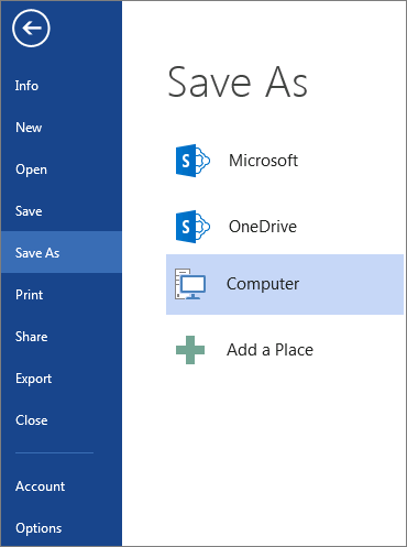 The Save As window, showing the list of places where you can save a document