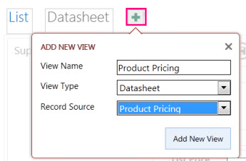 Adding a Datasheet view of the query to the source table.