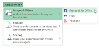 Add a service, like Flickr or Facebook for Office