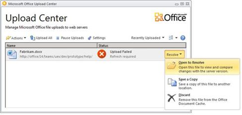 Upload Center Resolve menu