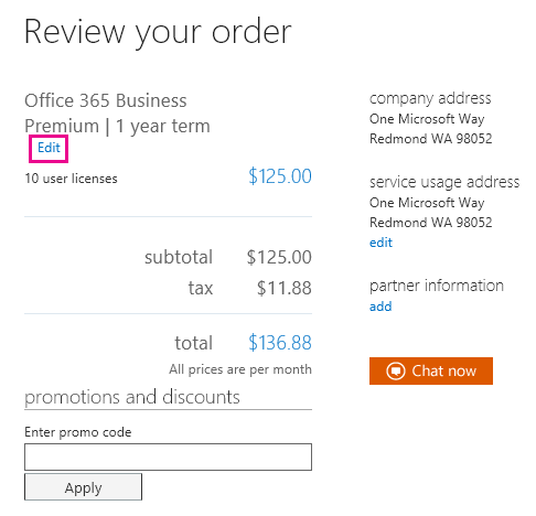 Review and accept the terms of your order page.